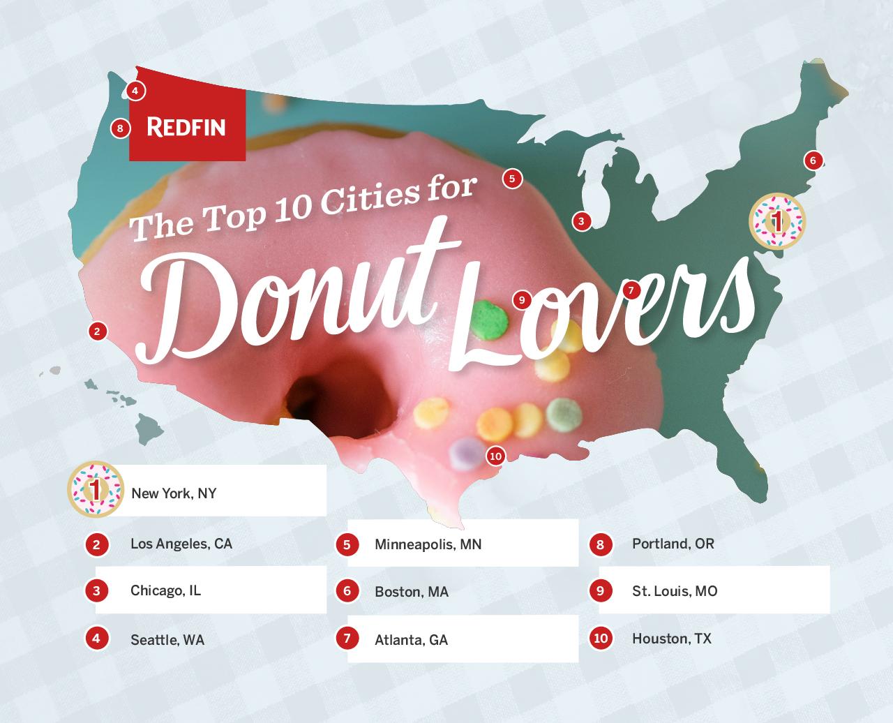 U.S. map of donut shops