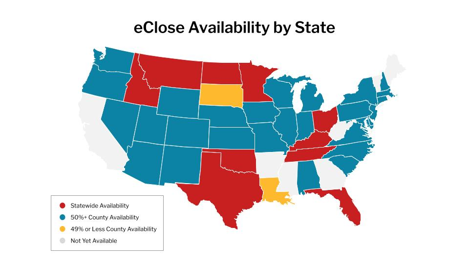 US map of everywhere an eClose is available