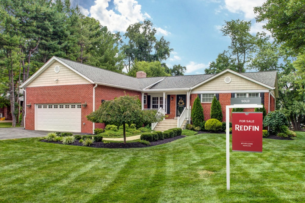 A brick home recently sold after an intense bidding war between competing offers