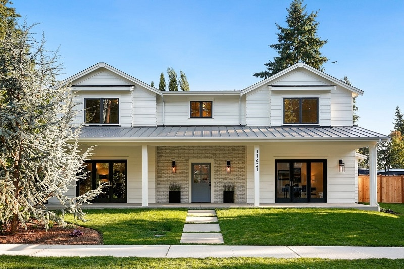 white two story home with curb appeal